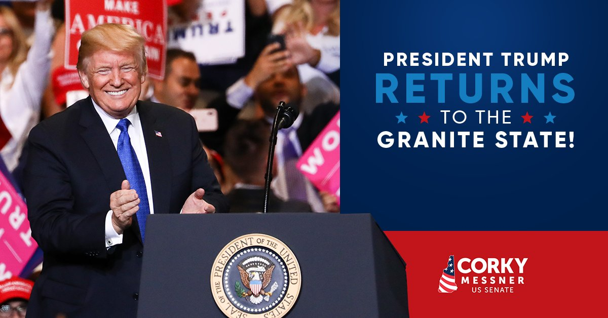 Have you heard the news? I'm thrilled to welcome @realDonaldTrump back to New Hampshire for another #MAGA rally! The N.H. Trump Ticket will all be in attendance. The President means business about taking back our state from D.C. Jeanne Shaheen!  #nhpolitics #NHSen