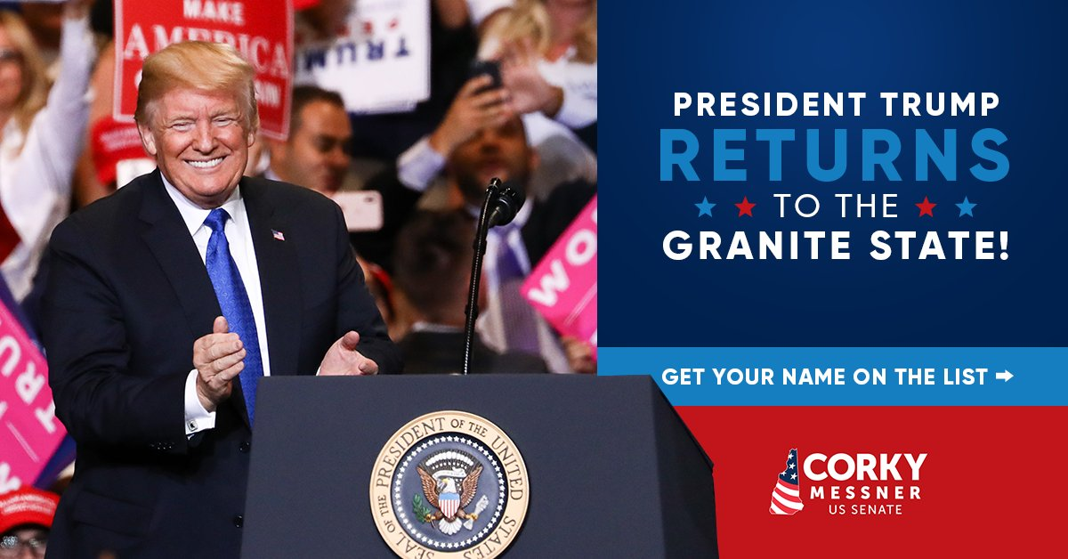 .@realDonaldTrump is RETURNING to New Hampshire for a #MAGA Rally! I'm giving him a list of everyone who donates beforehand, and your name needs to be on the list. Don't miss out on this important opportunity - DONATE NOW! >>    #nhpolitics #NHSen