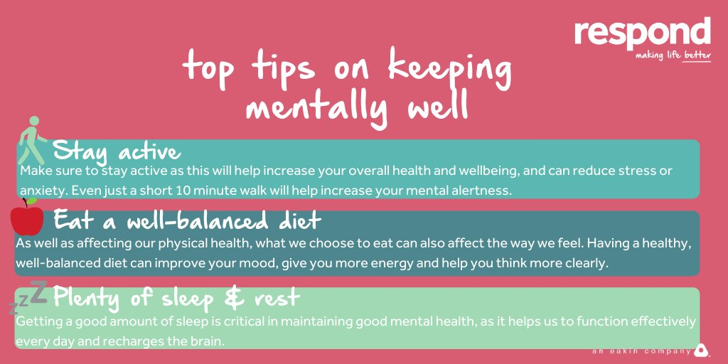 Mental health & access to mental health resources is so important, so for #HealthInformationWeek we thought we would re-share with you some top tips we put together for staying mentally well💚 Head to  for further advice & support #HIW2020 #MakingLifeBetter