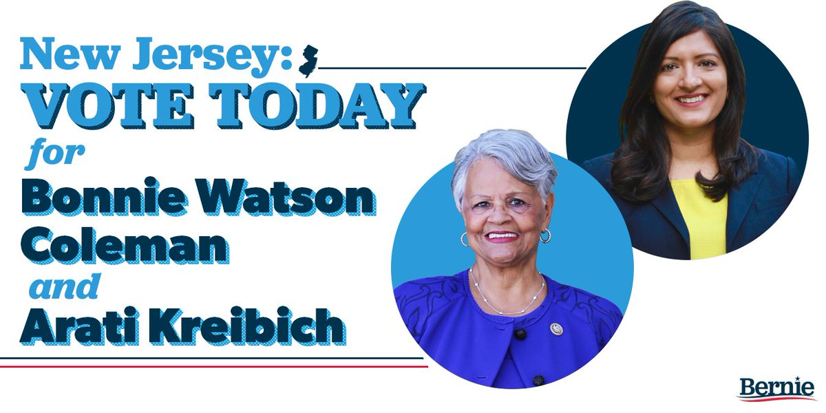 New Jersey: remember to vote today and cast your ballot for @Bonnie4Congress and @Arati4Congress. Let's send these strong progressives to the U.S. House. Find the voting information you need here: