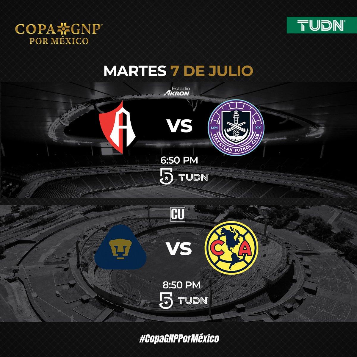 #TUDN está listo para recibir de nuevo al fútbol mexicano ⚽🇲🇽  Disfruta de la #CopaGNPPorMexico 🏆  Martes 7  🔴⚫ @atlasfc 🆚 @MazatlanFC ⚓  🐾 @PumasMX  🆚 @ClubAmerica 🦅  📺   @TUDNMEX  | @MiCanal5