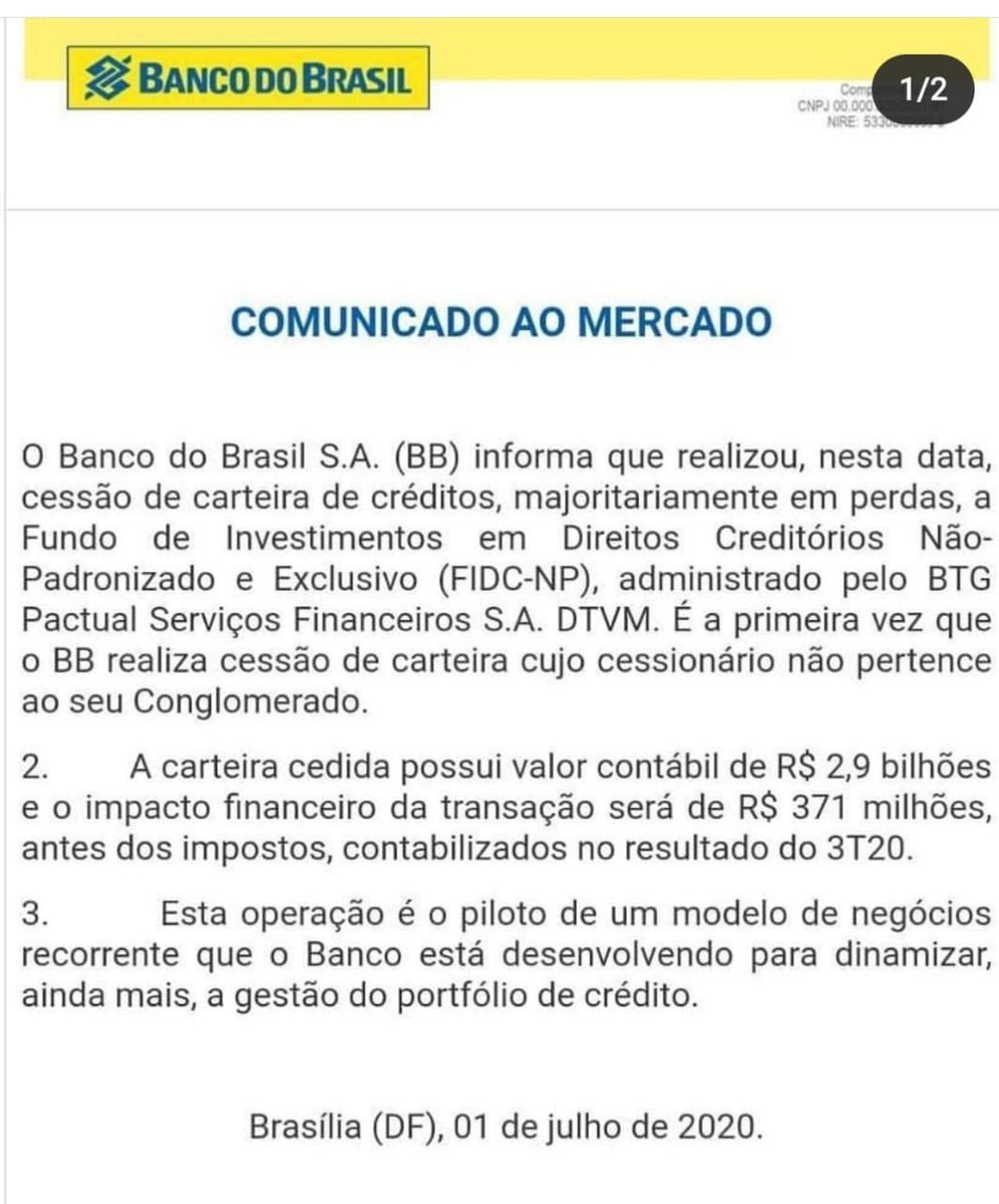 O Banco do Brasil vende uma carteira de crédito de quase 3 bilhões por menos de 400 milhões para o BTG Pactual, banco cujo dono é o Min da Fazenda Paulo Guedes.   Se fosse ruim o BTG ñ comprava. Deram o verdadeiro golpe do baú.  Uma negociata das mais desavergonhadas