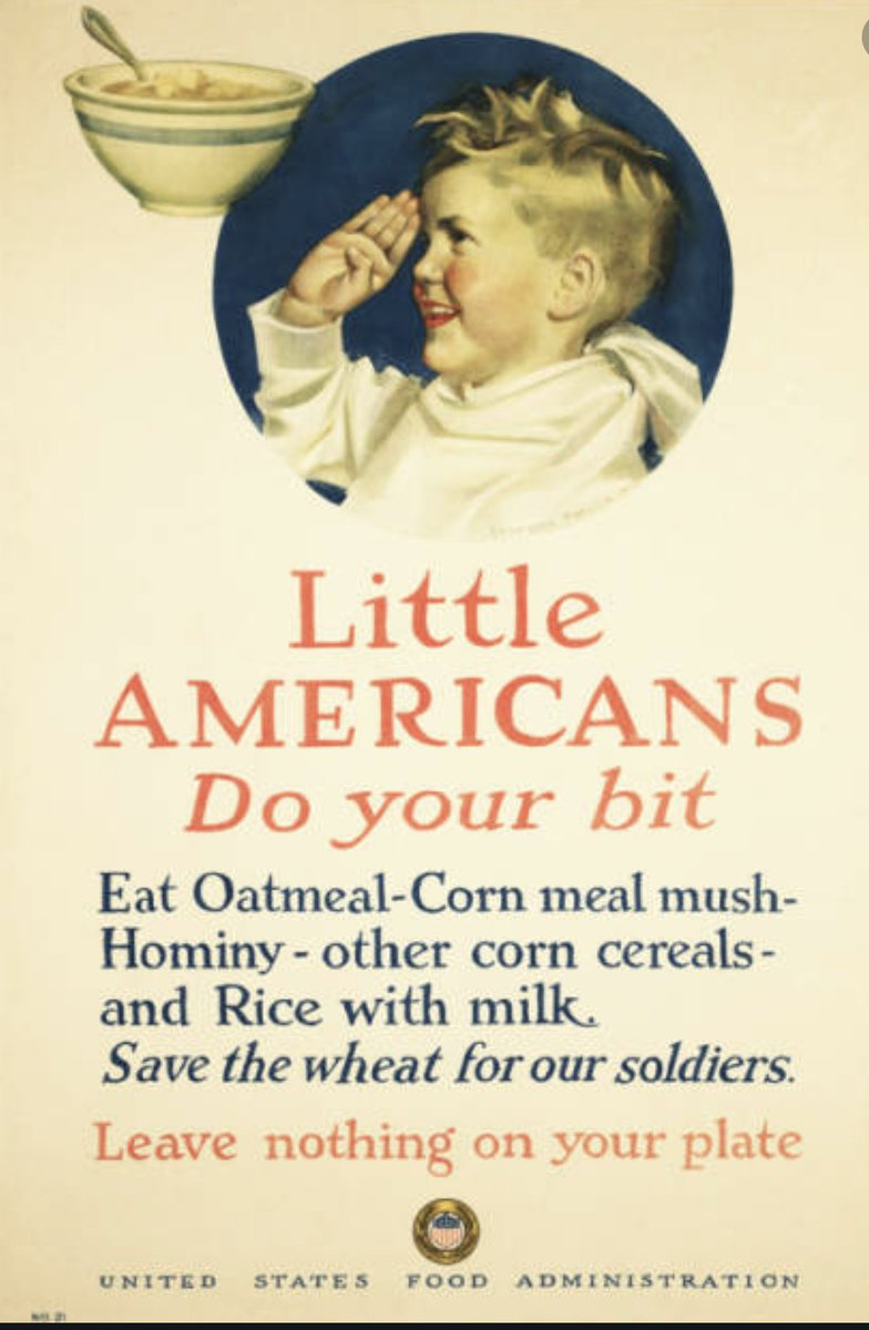 "...had in impact. The message was, ""We're in this together, and if you are not part of it, you are aiding the enemy."" The same is true today - except Trumpers aren't in it.  Can you IMAGINE how Trumpers would react if government told their kids to eat corn cereal, not wheat?.../2"