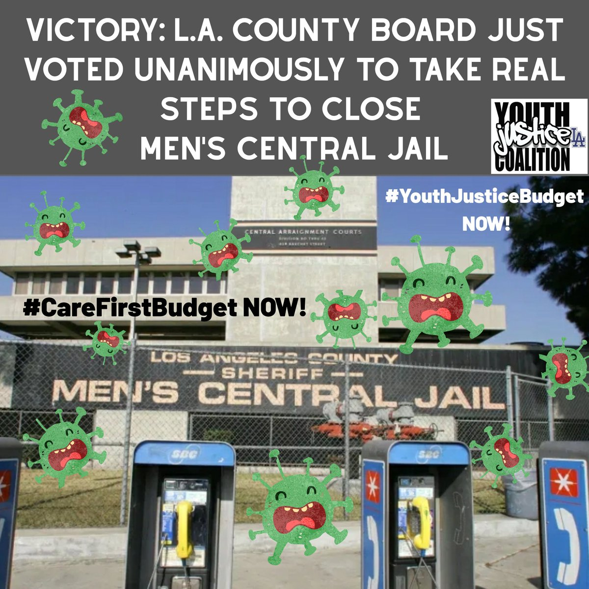 TODAY WE WON-L.A. County Board of Supervisors Voted Unanimously to Take Real Steps to CLOSE MEN'S CENTRAL JAIL!! 📢📢📢✊🏿✊🏾 Honored to work with @JusticeLANow coalition who organized over 17,000 public comments today in support of #CareNotCages!! End the #IncarcerationVirus now!