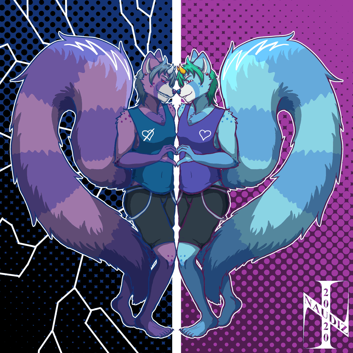 Commission for @thelewddeer of his main character, Kain, getting to know a certain part of himself. Where have I seen something like this before...  Comments, RTs appreciated. 💜💙  #furry #anthro #furryart #anthroart