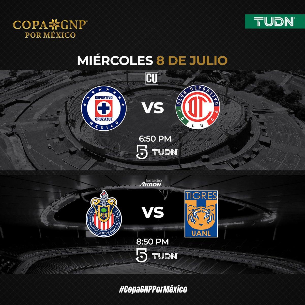 El fútbol mexicano está de regreso. Sigue a tu equipo favorito en #TUDN ⚽  Disfruta la #CopaGNPPorMéxico 🏆  Miércoles 8   🚂 @CruzAzulCD  🆚 @TolucaFC  👿  🐐 @Chivas 🆚 @TigresOficial 🐯   @TUDNMEX  | @MiCanal5
