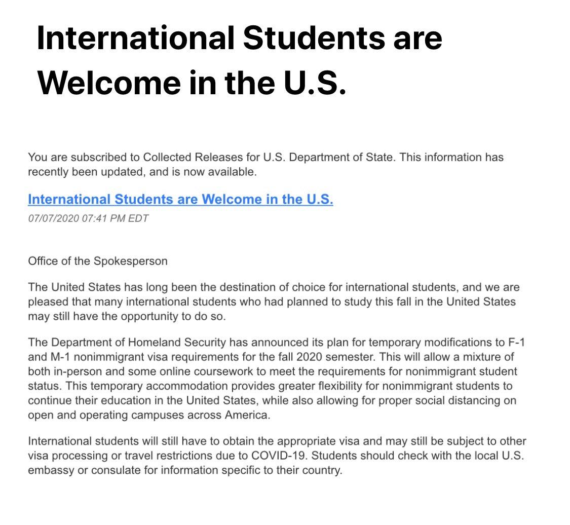 "test Twitter Media - ""International students are welcome in the US"" but/however/लेकिन/परंतु...  @POTUS @ICEgov @StateDept @IndianEmbassyUS #Immigration #InternationalStudents https://t.co/6ZPH6NJe9N"