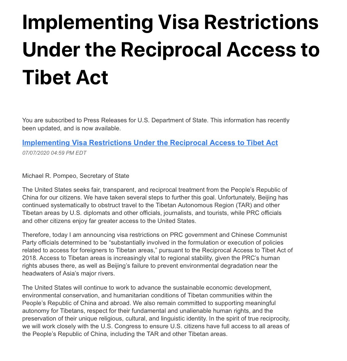 "test Twitter Media - US announces visa restrictions on Chinese government and its officials determined to be ""substantially involved in the formulation or execution of policies related to access for foreigners to Tibetan areas."" ⁦@POTUS⁩ ⁦@StateDept⁩ ⁦@PTI_News⁩ @ChineseEmbinUS⁩ https://t.co/5q3WgMCP9T"