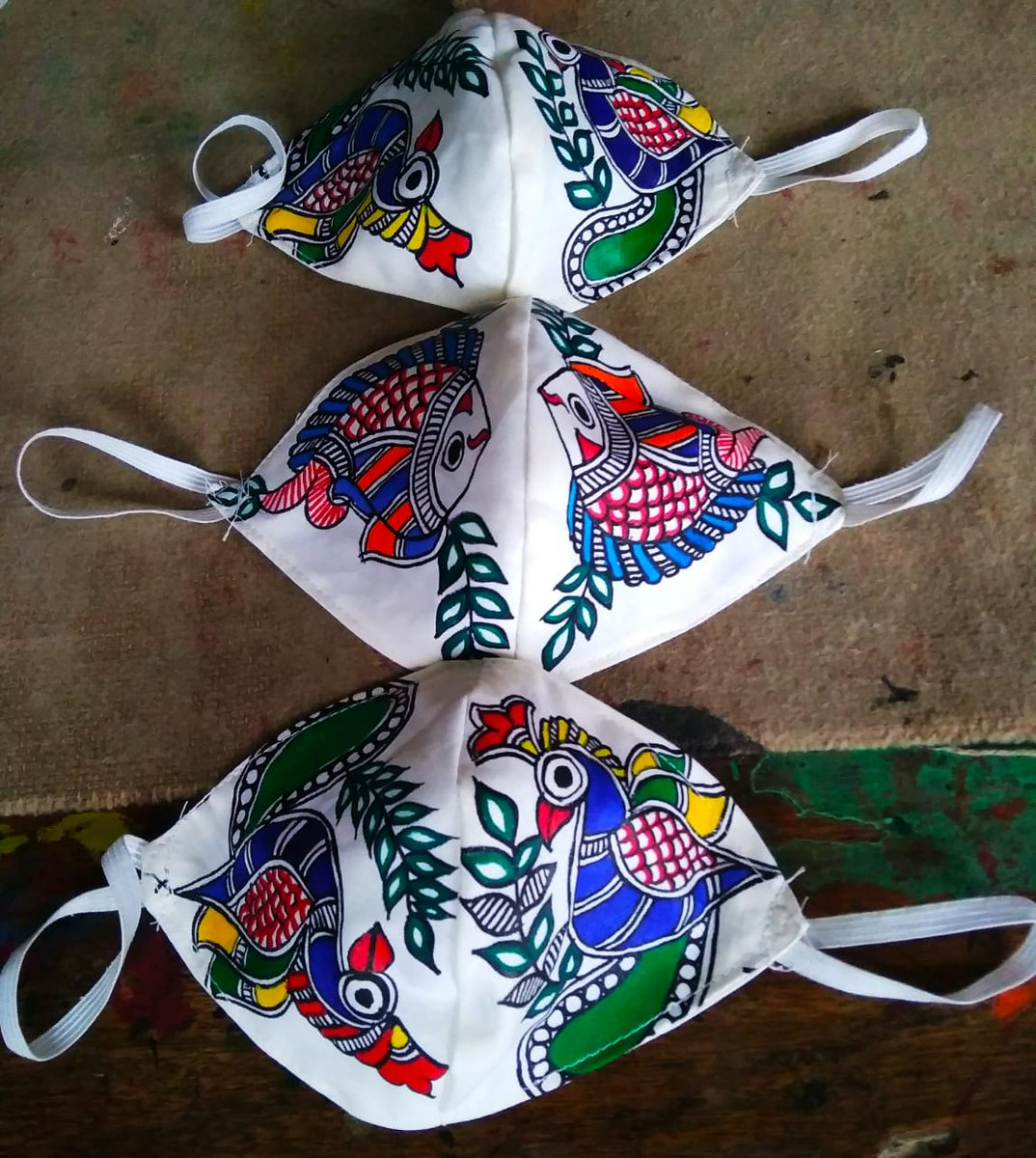A poor Madhubani painter in Bihar ....He said that he can send by courier ....each three layered cotton mask costs ₹50/-. Pl spread the word around and help friends. He can be contacted at +91 9899429912