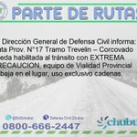 RT @DcChubut: 08:50 hs #ParteInformativo Ruta Pcial N° 17  @MinSegChubut https://t.co/SWksOKehht