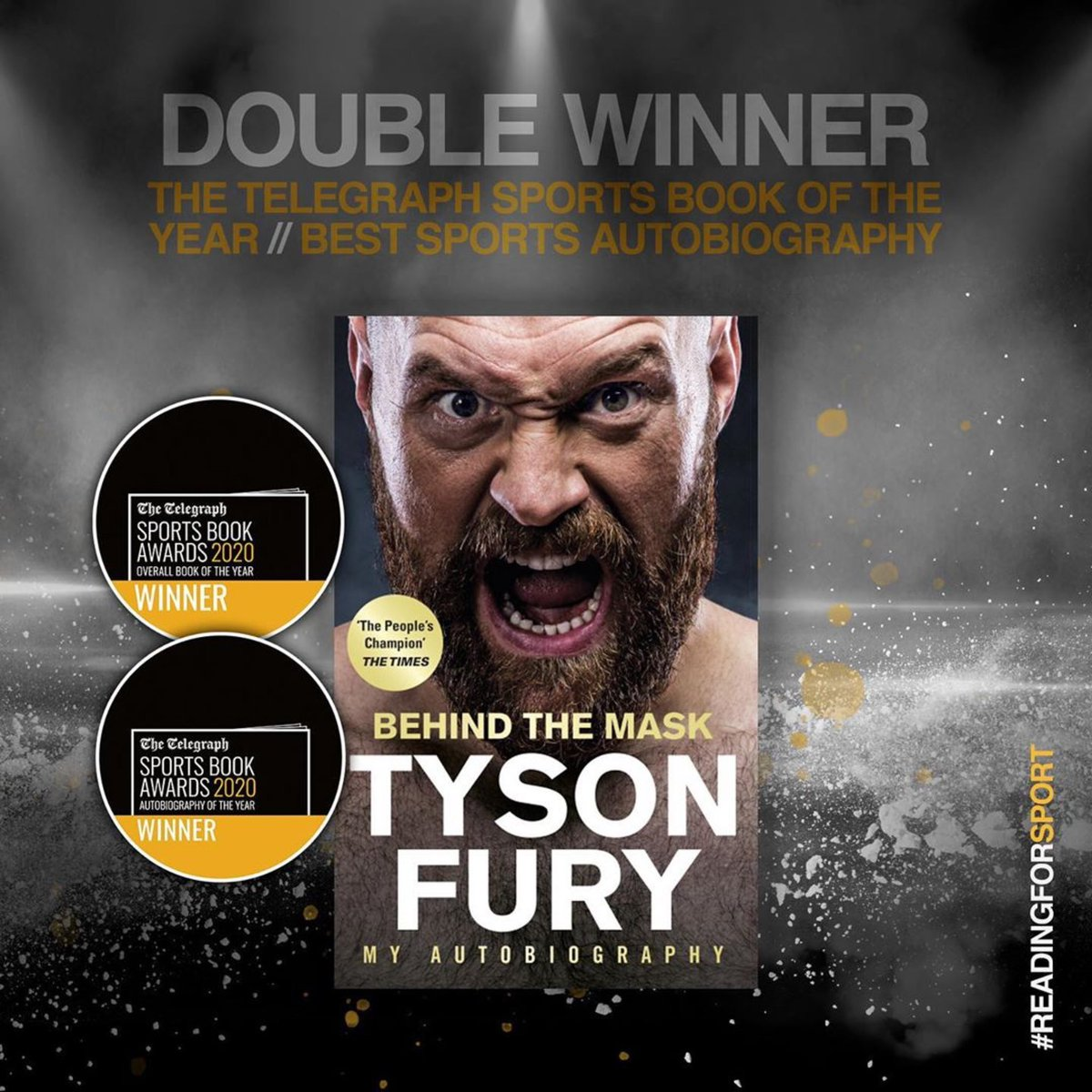 Boom! I'm delighted to win the Best Autobiography of the Year Award at the 2020 Telegraph Sports Awards and the Overall Sports Book of the Year Award. It's a real honour to win 2 awards alongside some real sporting heroes. Thanks everyone for the support! #ReadingForSport #SBA20