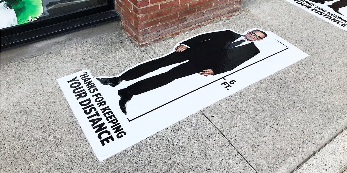 At exactly 6 feet tall, @TomHanks is the perfect #socialdistancing measurement tool. Have you seen these around #Toronto? #HanksforDistancing!