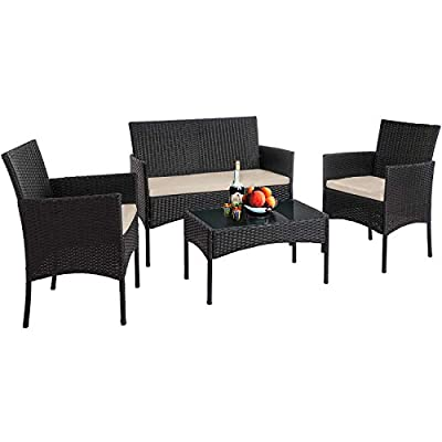 Vnewone Outdoor Patio Furniture Sets 4 Pieces Patio Set Rattan Chair Wicker...