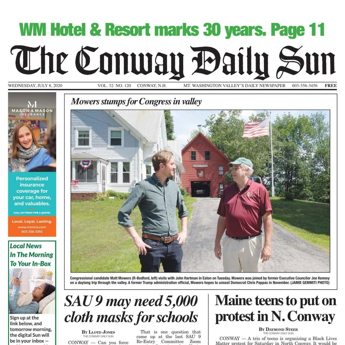 "📰Conway Daily Sun's Front Page📰   ""Mowers was joined by former Executive Councilor Joe Kenney on a daylong trip through the valley."" #nhpolitics #nh01"