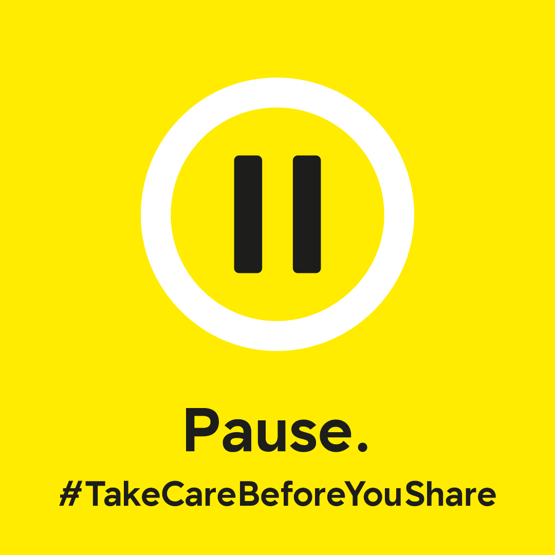 Sharing is not always caring.  Before you share a Tweet, consider these questions:  Who wrote it? Where is their information coming from? Why are you sharing it?  Pause and take your time before you share information online. #TakeCareBeforeYouShare