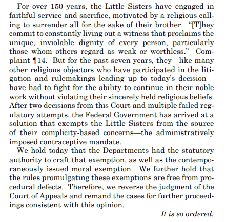 Powerful concluding words from the Supreme Court's decision protecting the Little Sisters of the Poor: