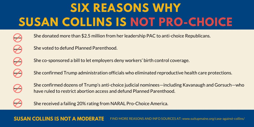 Yes, @SenatorCollins had a hand in today's ruling allowing employers to deny workers birth control coverage.  But it's not the first time she's acted to limit contraceptive care and reproductive rights. If re-elected, it won't be the last. Collins is not pro-choice.   #mepolitics