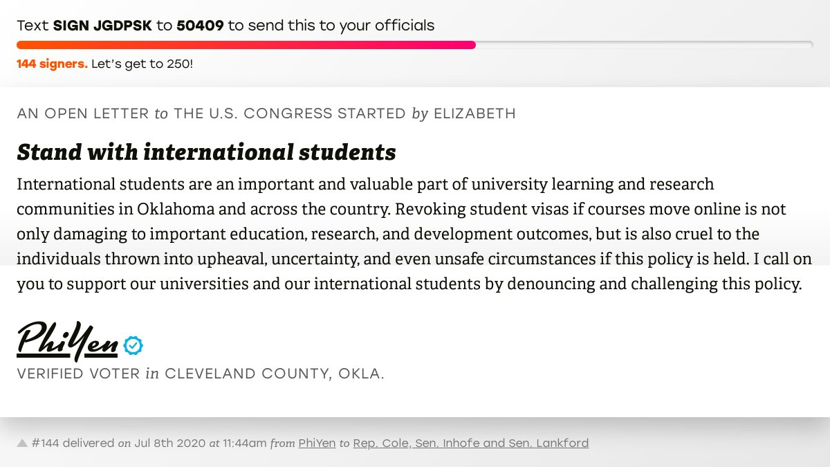 """🖋 Sign """"Stand with international students"""" and I'll deliver a copy to your officials:   📨 No. 144 is from PhiYen to @TomColeOK04, @JimInhofe and @SenatorLankford #OK04 #OKpolitics #OKpol"""