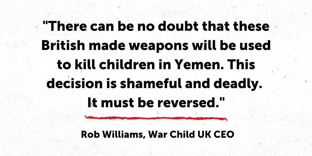 The UK has an obligation to protect civilians from harm and must not authorise arm sales to countries that fail to comply with international standards. The UK must not contribute to grave violations against children in #Yemen.