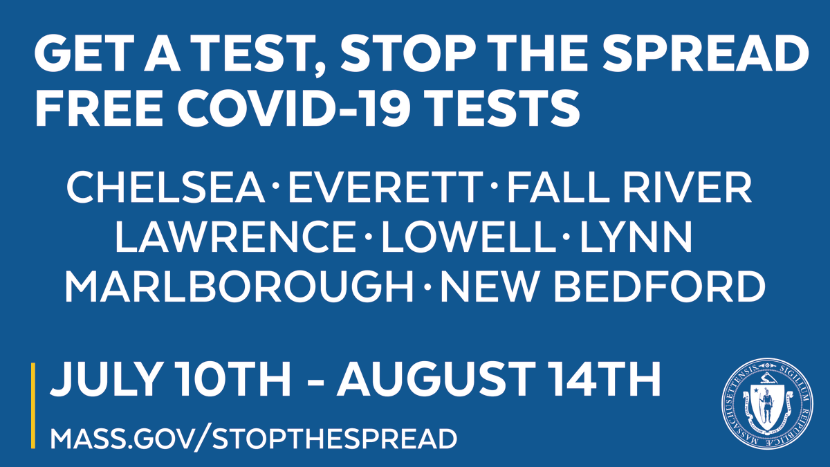 Help us stop the spread of COVID-19 by getting tested. Residents of these 8 communities with high rates of COVID-19 can get tested from July 10 - Aug 14 at no cost to you - even with no symptoms. All results are confidential. Learn more:  #covid19MA