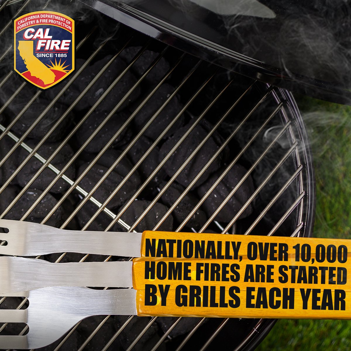 Did you know July is the peak month for grill fires? Avoid a potential disaster by removing grease or fat buildup from your grill. Keeping your #grill clean is an easy way to stay fire safe this #summer!