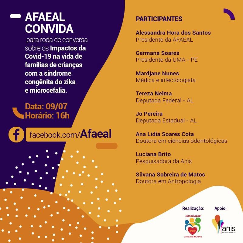 Amanhã vai rolar uma roda de conversa no Facebook da @afaeal_maceio Afaeal para falar sobre os impactos da Covid-19 na vida de famílias de crianças com a síndrome congênita do Zika e microcefalia.  Link para a transmissão: