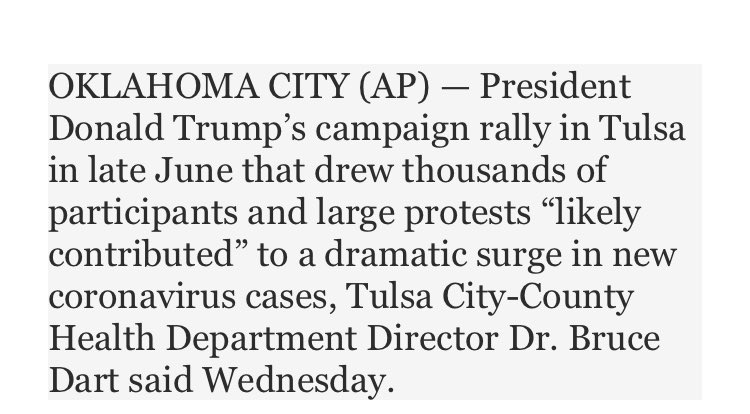 From the Associated Press #TulsaTrumpRally