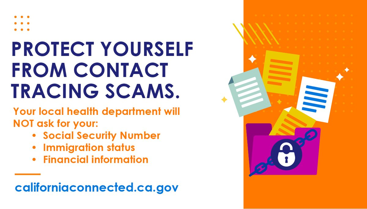 ⚠️ Public health workers will never ask for your Social Security number, immigration status, or financial information.  👉🏾 To learn more about contact tracing, visit