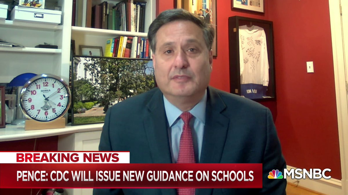 """""""This is deja vu all over again to what happened in April. In April, the CDC brought guidelines on how to reopen businesses, when to reopen, stages to reopen... [Trump] was egging states on to ignore his own administration's guidance"""" - @RonaldKlain w/ @NicolleDWallace"""