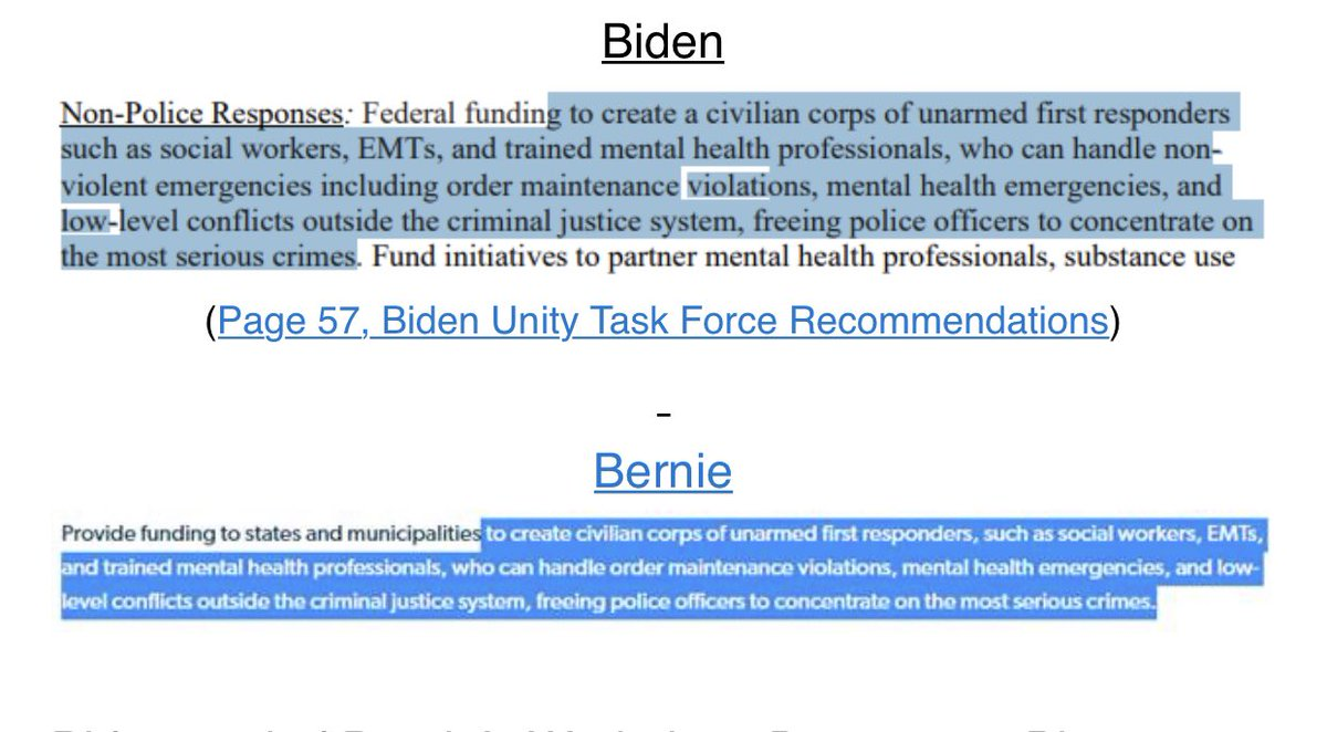 THREAD.   Today, Joe Biden's unity task force released recommendations for the DNC platform that crib straight from Bernie Sanders' radical agenda.   We found multiple instances of word-for-word copying from Bernie.   Biden's Criminal Justice Unity Task force copied Bernie.