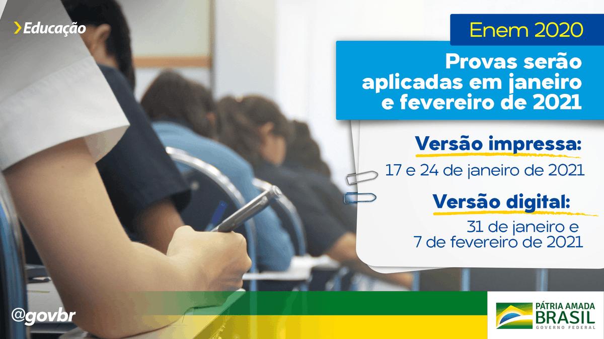 O @inep_oficial divulgou, na tarde desta quarta-feira (8), as datas oficiais do Exame Nacional do Ensino Médio 2020. Enquanto a versão impressa será aplicada nos dias 17 e 24 de janeiro de 2021, o Enem Digital acontece em 31 de janeiro e 7 de fevereiro de 2021.