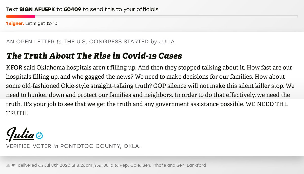 """🖋 Sign """"The Truth About The Rise in Covid-19 Cases"""" and I'll deliver a copy to your officials:   📨 No. 1 is from Julia to @TomColeOK04, @JimInhofe and @SenatorLankford #OK04 #OKpolitics #OKpol"""