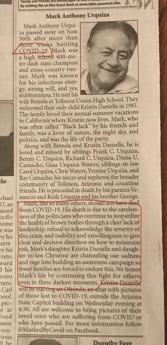 Powerful obituary in today's AZ Republic. Regular people are starting to boil over