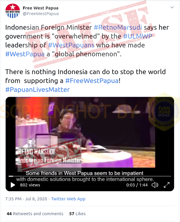 """[FALSE] """"Indonesian Foreign Minister #RetnoMarsudi says her government is """"overwhelmed"""" by the #ULMWP leadership""""  NOT Retno Marsudi, the person who spoke in the video is Ani Widyani. Senior Lecturer of Universitas Indonesia, ...  More @  #FactCheck"""