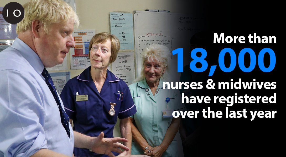 I'm delighted to see record numbers of nurses and midwives now working in our NHS as we work towards delivering 50,000 more nurses in this parliament.  Nurses have saved countless lives during the pandemic and we are so grateful for all that they do for us, and for our NHS.