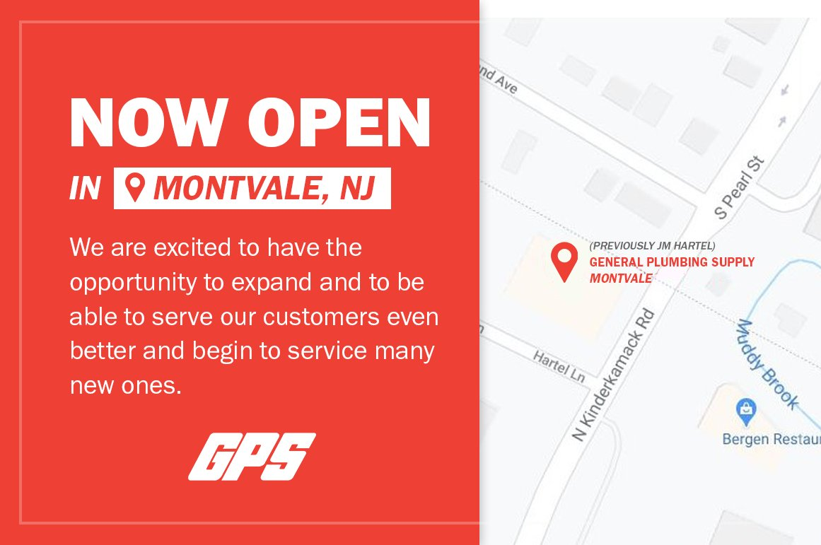 General Plumbing Supply just opened in Montvale at the former JM Hartel & Company location on N Kinderkamack Road! For more info on our locations and hours:   #Trade #Counter #Plumbing #Heating #Cooling #HVAC #IndustrialSupplies #HomeSweetHome