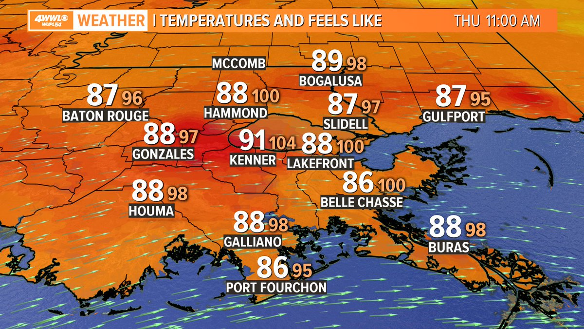 YUCK! It is in the 90s and feels like 104° already in #NewOrleans. Get ready for a hot and humid afternoon! I'll let you know how hot on @WWLTV at noon. #BeOn4
