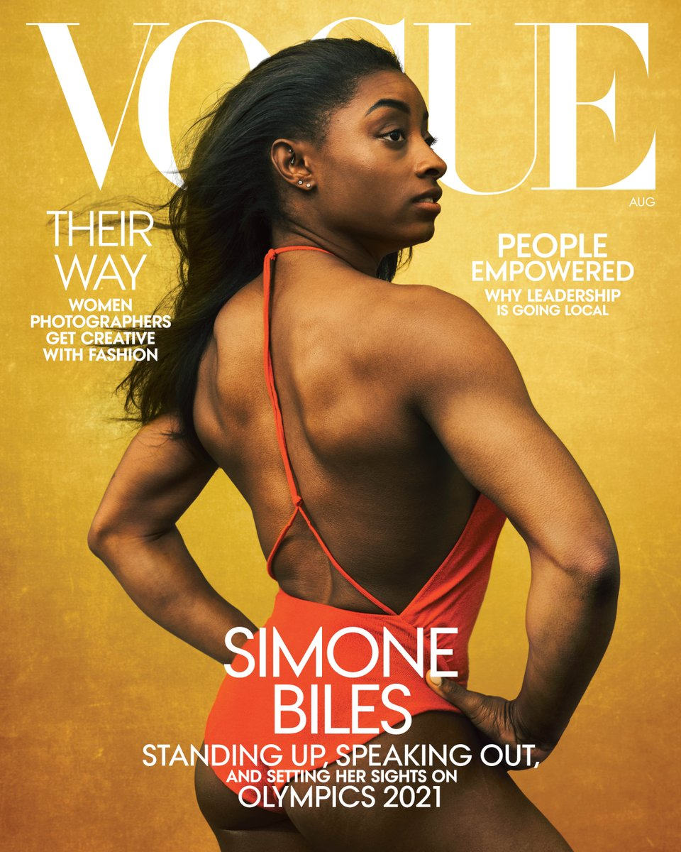 .@Simone_Biles stars on the cover of our August issue! With the 2020 Olympics postponed and a shadow hung over American gymnastics, Biles–who is widely regarded as the greatest gymnast of all time—has had to be resilient as never before. (1/5)