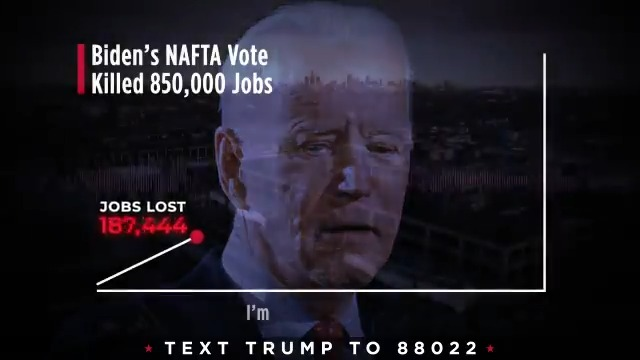 Biden voted for NAFTA then spent decades defending it while 850,000 Americans lost their jobs.