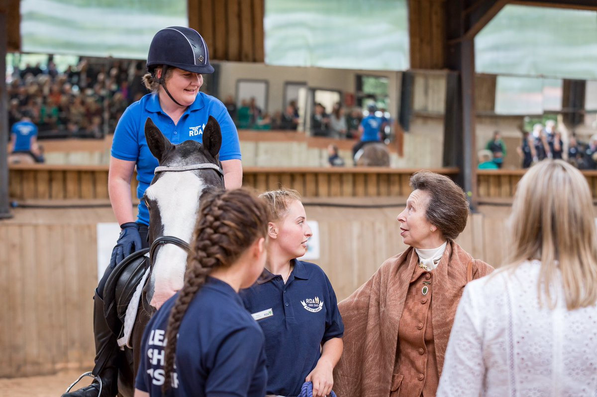 Yesterday The Princess Royal, President of the Riding for the Disabled Association, spoke to riders and volunteers via video call.  @RDAnational provides therapy through horse riding to over 25,000 disabled adults and children.  📷 RDA, 2019
