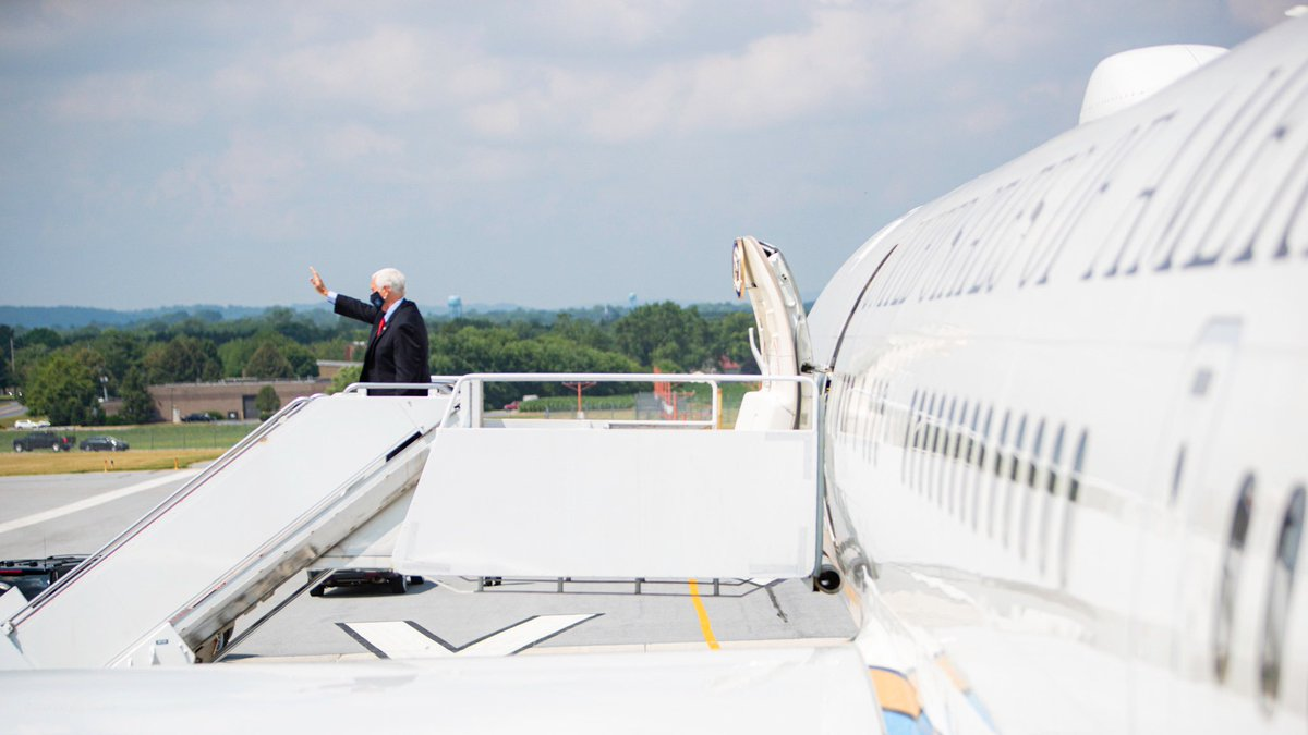 Just landed in the Keystone State! Pennsylvania and America need four more years of President @realDonaldTrump in the @WhiteHouse fighting for the American people!
