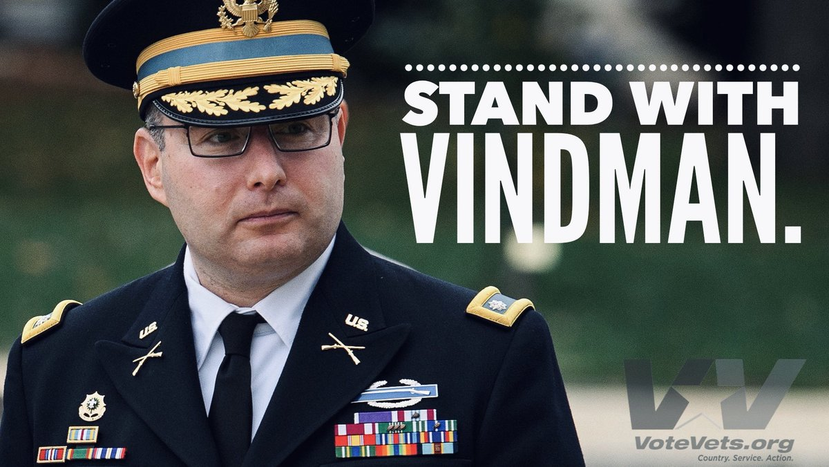 We stand with Lt. Col. Alexander Vindman who was bullied out of his military career by a draft-dodging coward.