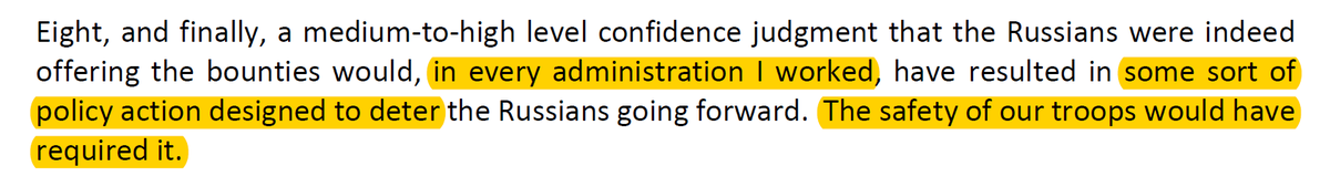 <thread> on #RussianBounty   Excellent testimony by @MichaelJMorell, former Acting and Deputy Director @CIA (in Bush and Obama) before @HouseForeign   Points include:   actions taken when intel is moderate confidence  norm of rapid congressional notification   Absolutely key: