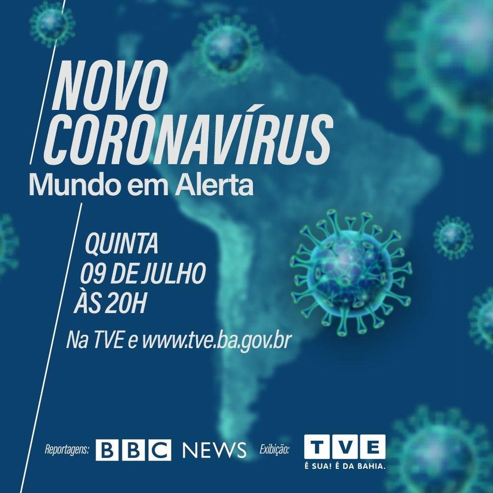 A #TVEBahia exibe nesta quinta (09), às 20h, o especial Novo Coronavírus – Mundo em Alerta, com apresentação de Vania Dias.   Saiba como o corpo reage ao vírus, a sua transmissão, como usar equipamentos de proteção e muito mais.  Produzido pela @bbcbrasil  #Coronavírus