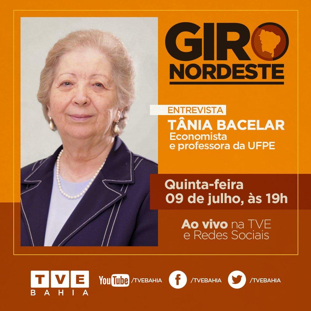 HOJE | O #GiroNordeste com Tânia Bacelar vai falar sobre a recuperação da economia brasileira e a situação do Nordeste com a crise do novo coronavírus.   Assista às 19h AO VIVO na TV e redes sociais da #TVEBahia  💻 Mande sua pergunta para o programa!