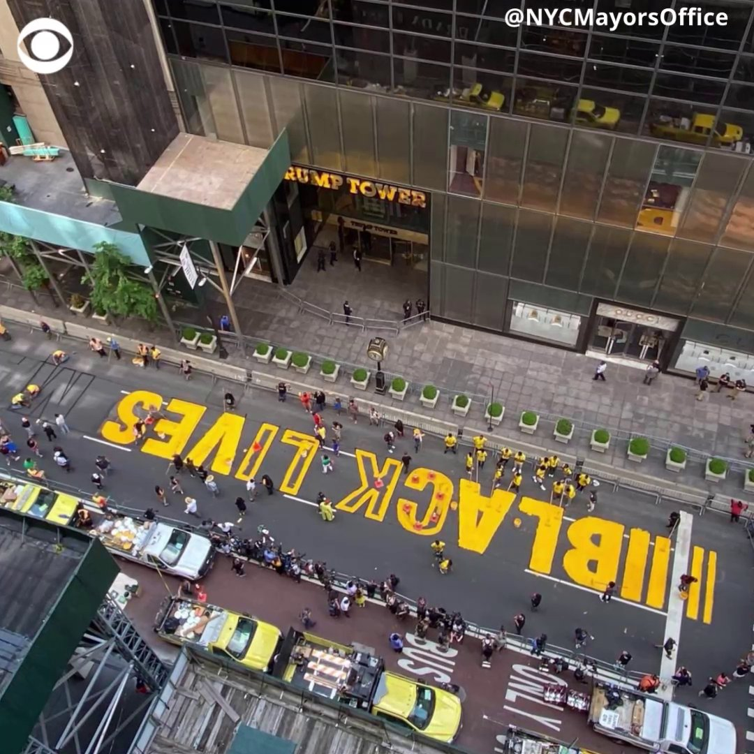 "A ""Black Lives Matter"" mural was painted in front of Trump Tower in New York City on Thursday. Mayor Bill de Blasio and Rev. Al Sharpton helped paint the bold, yellow letters across 5th Ave."