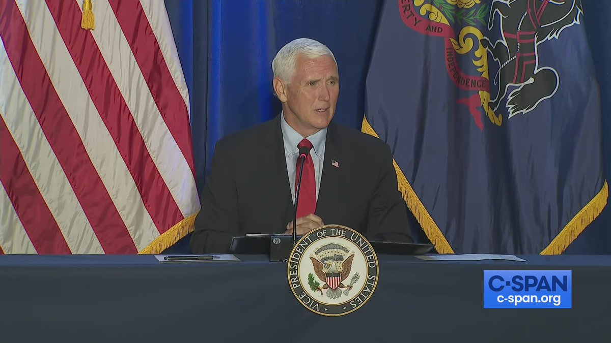 Vice President Mike Pence (@VP) participates in a roundtable discussion on reopening America at Rajant Corporation in Malvern, Pennsylvania - LIVE on