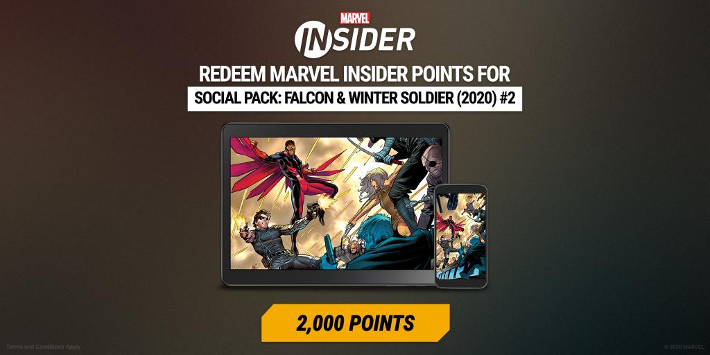Earn #MarvelInsider points with Falcon and Winter Soldier, and redeem them for exclusive rewards! Terms apply: