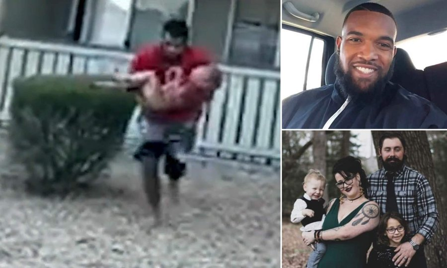 Marine who played wide receiver in college catches a 3-year-old boy thrown from a burning building by his mother before she died in the fire -