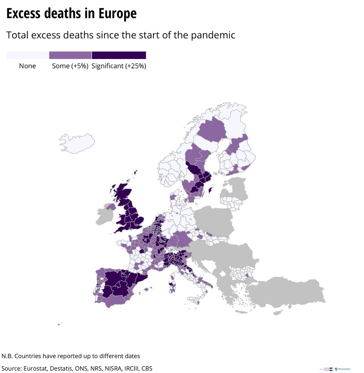 Excess deaths per region since the beginning of the pandemic